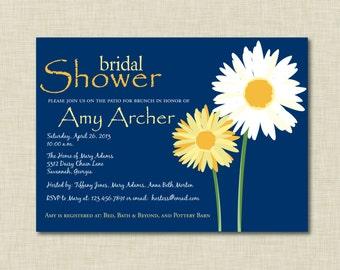 Navy Daisy Bridal Shower Invitation | Bridesmaids Luncheon Invitation | Baby Shower Invitation | Engagement Party Invitation |