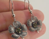 Antiqued Silver Maple Leaf Earrings with Olive Swarovski Crystals, Silver Earrings, Swarovski Earrings