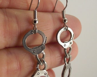 Silver Handcuffs Earrings, Antiqued Silver Earrings, Anti Valentine