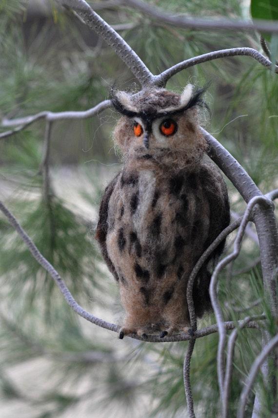 Needle Felted Bird. Eagle Owl. Felt Owl Art Doll. Owl Figurine.Wool Owl.