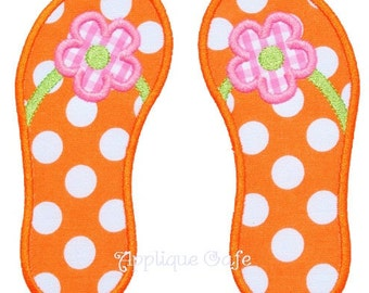 307 Flower Flip Flops Machine Embroidery Applique Design