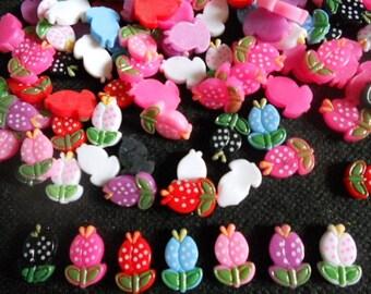 30 pcs Cute tiny flower flatback decoration size 10 x 16 mm mix colors