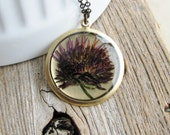 Pressed Aster Flower Necklace Botanical Jewelry Pressed Flower Plant Resin Nature Inspired Real Dried Flower Bridal Jewelry - KateeMarie