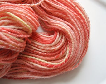 Handspun Polworth wool yarn - one of a kind - Strawberry Lemonade - 198 yards - 3 ply - knitting yarn - indie - crocheting yarn -  coral