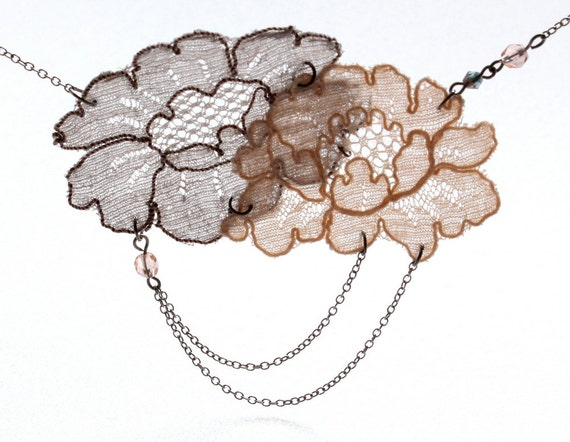 Lace necklace - peach grey flower necklace - gatsby deco antique - tiered festoon chain necklace