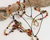 """Gemstone Necklace w/ Steel- One of a Kind and Hand Knotted 36"""""""