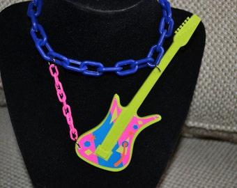 BARBIE, Rocker, Guitar, Necklace, PINK, Glitter, Vintage, Rock and Roll, Jem, Neon, One of a Kind, 80s,