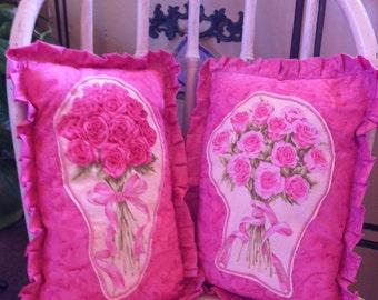 Pillow Roses Pink Ribbon Bouquet Love You Ruffle Detail