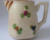 Vintage BASKET WEAVE CHINA Milk jug with handpainted flowers