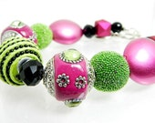 Hot Pink Lime Green Black Chunky Bracelet - Fun Bright Festive Bracelet - BeadzNBling