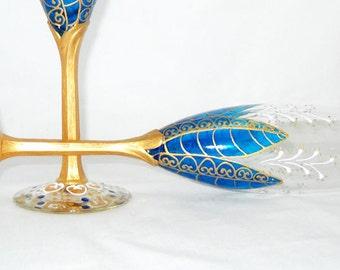 Blue Wedding Champagne Flutes Hand Painted Wedding Something Blue Flute Toasting Glasses