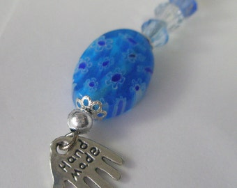 Silver and blue beaded bookmark, silver handmade charm
