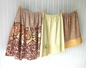 Women's Cotton Skirt - Size 10 Tiered Ruffled Floral Chocolate Brown, Cream, Honey Gold Spring and Summer Skirt - JANNYSGIRL