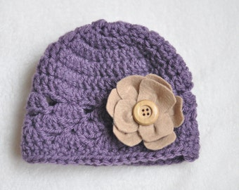 photo prop hat, baby crochet hat pruple and tan