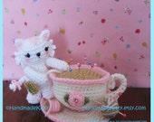 Kitty Playing with Pincushion Teacup Amigurumi PDF Crochet Pattern by Handmadekitty