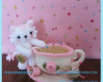 Kitty Playing with Pincushion Teacup Amigurumi PDF Crochet Pattern by Handmadekitty