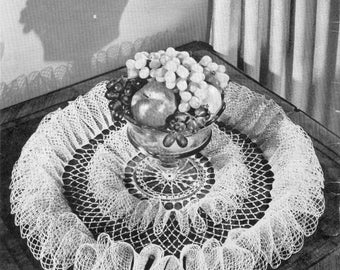 """Party Frills Ruffled Crochet Doilie Pattern 22 """" When Finished PDF Instant Download"""