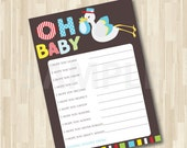 I Wish Baby Shower Game/Activity Baby Advice Shower Wishes Printable Card Game - Digital File - Print your Own