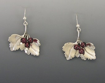 Highbush Cranberry Sterling Silver Earrings with Garnets