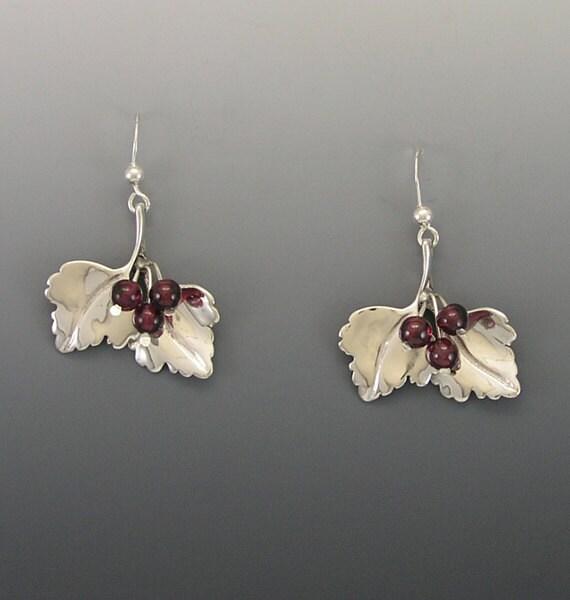 Highbush Cranberry Sterling Silver Earrings with Garnets
