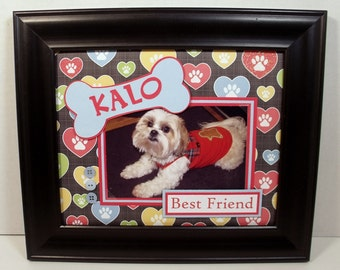 Personalized Dog Picture Frame - 8x10 Deluxe Frame Included for 4x6 or 5x7 photo - Any Message, Any Accent Color