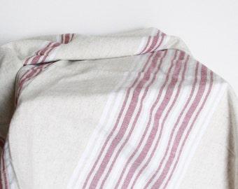 Bath Towel / Beach Towel , Turkish Bath Towel...Linen - Cotton PESHTEMAL Cream-Red