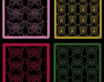 FLUTTERS QUILTING BACKGROUNDS - 40 Machine Embroidery Designs Instant Download 4x4 5x7 6x10 hoop (AzEB)