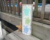 Beach Sign Trio of Turtles Nursery and Coastal Cottage Decor