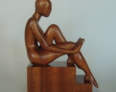 """Nude woman wood sculpture """"Caried away"""""""