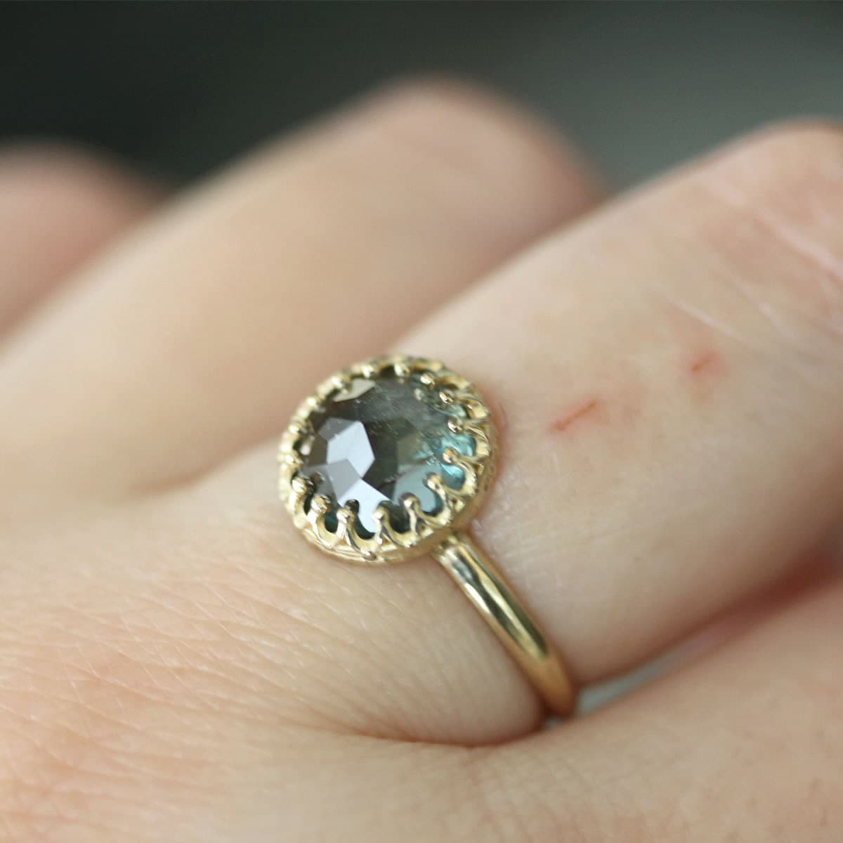 Rose Cut Blue Green Sapphire In 14k Yellow Gold Engagement