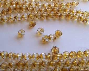 28ct 7mm Czech Light Amber Picasso Nugget Beads