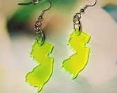 New Jersey Earrings in Fluorescent Neon Green Acrylic, State Earrings