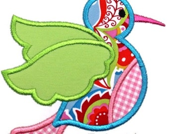 Hummingbird Machine Embroidery Applique Design
