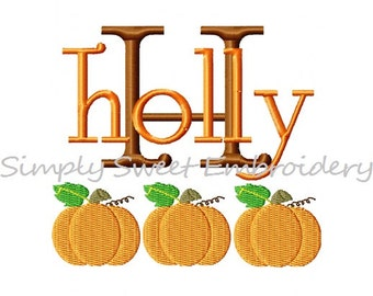 Fall Halloween Pumpkin Machine Embroidery Font Set