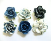 LIMITED EDITION-Handcrafted Paper Flower Lapel Pin / Boutonniere -Shades of Blue - you choose 1