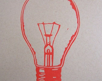 LINOCUT PRINT - lightbulb red LETTERPRESS poster on kraft 8x10