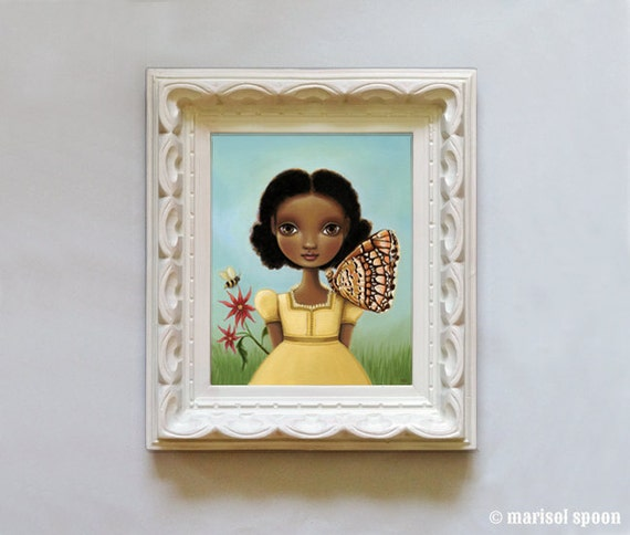 art print african Girl, butterfly, honey bee art nature painting- 8x10 print on Somerset Velvet - woodland art Maya by Marisol Spoon