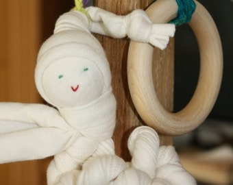 Organic Baby teething toy made from Organic Cotton and American Maple Wood Ring