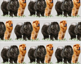 Red and Black Chow Chow fabric