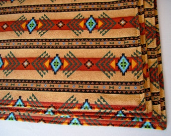 Southwestern Placemats Reversible Brown and Turquoise Aztec Placemats Ethnic Placemats Terra Cotta Southwest Placemats Sedona Placemats