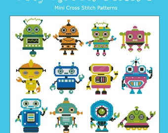 Baby Robots Series I  Minis Cross Stitch PDF Chart