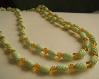 Mint Green Molded Glass Bead Necklace Amber Glass Beads 39""