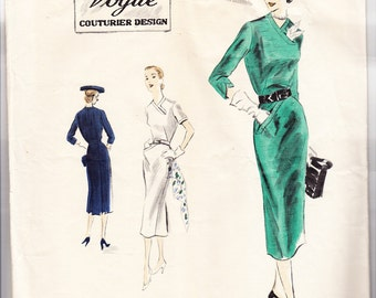 Vintage 1951 Vogue Couturier Design 630 Sewing Pattern Misses' One-Piece Dress Size 14 Bust 32