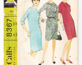 Vintage 1966 McCall's 8367 Sewing Pattern Misses' Dress Size 14-1/2 Bust 35