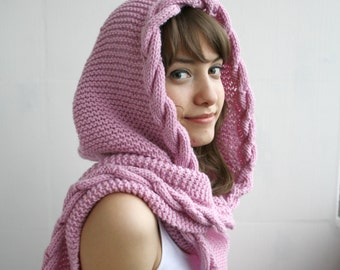 Pink Wool Hooded Cabled  Long Scarf  Cowl Christmas gift Under USD100 Bridal Romantic Hoodie