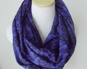 READY TO SHIP - Purple and Black Lace Print Infinity Scarf - Jersey Knit