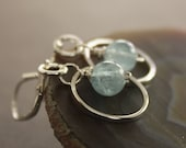 Pale blue aquamarine sterling silver earrings on hammered hoops - Aquamarine earrings - Hoop earrings - Dangle earrings