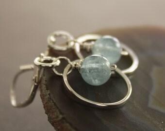 Pale blue aquamarine sterling silver earrings on hammered hoops - Aquamarine earrings - Hoop earrings - Dangle earrings - ER032
