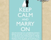 10 Invites - Bridal shower invites //you can change the colors// - Catherine design - Keep Calm and Carry (Marry) On