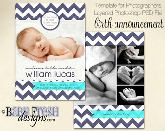 Instant Download - Photoshop PSD layered Templates for Photographers - Birth Announcement - William Lucas Design